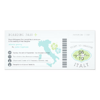 Carte d'embarquement au faire-part de mariage de carton d'invitation  10,16 cm x 23,49 cm