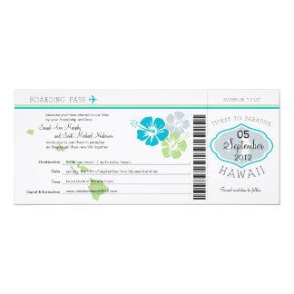 Carte d'embarquement de mariage vers Hawaï Carton D'invitation 10,16 Cm X 23,49 Cm
