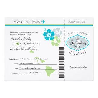 Carte d'embarquement de mariage vers Hawaï Carton D'invitation 11,43 Cm X 15,87 Cm