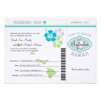 Carte d'embarquement de mariage vers Hawaï Cartons D'invitation