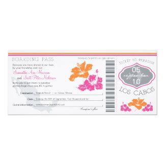 Carte d'embarquement de mariage vers Los Cabos Carton D'invitation 10,16 Cm X 23,49 Cm