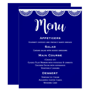 Carte Dentelle blanche vintage de menu de mariage de