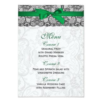 Carte Dentelle de Faux et menu de mariage de vert vert
