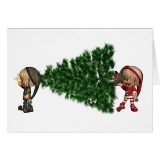 Carte Des elfes de Noël - apportez l'arbre