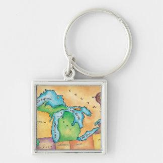 Carte des Great Lakes Porte-clefs
