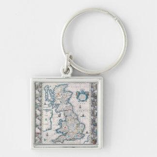 Carte des îles britanniques 2 porte-clé carré argenté