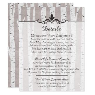 Carte Détails/directions rustiques de mariage d'arbre de