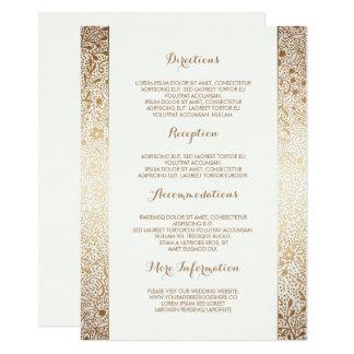 Carte Détails floraux blancs de mariage d'or -