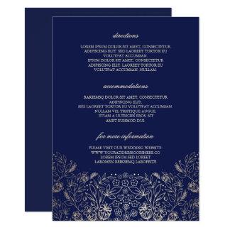 Carte Détails floraux de mariage de marine d'or -
