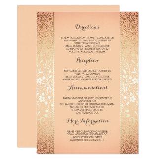 Carte Détails floraux de mariage de pêche d'or -