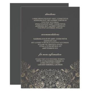 Carte Détails gris floraux de mariage d'or -