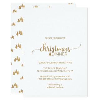 Carte Dîner de Noël simple de calligraphie d'or