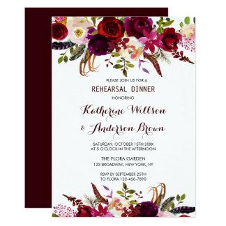 Carte Dîner floral de répétition de mariage de Bourgogne