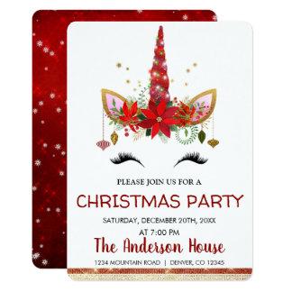 Carte Dîner mignon de vacances de Noël de licorne
