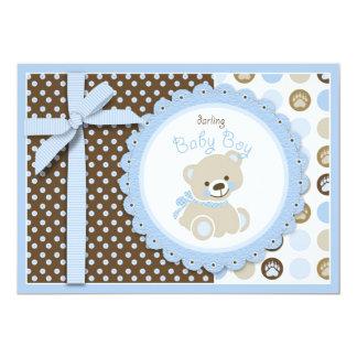 Carte d'invitation de baby shower d'ours de carton d'invitation  12,7 cm x 17,78 cm