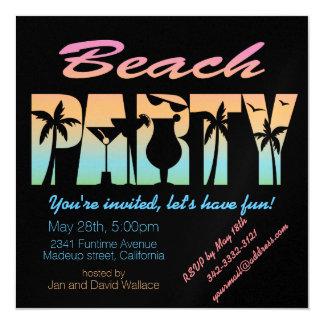 Carte d'invitation de partie de plage carton d'invitation  13,33 cm