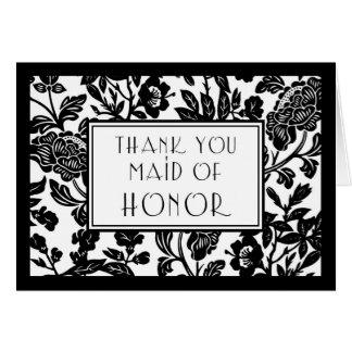 Carte Domestique florale noire et blanche de Merci de