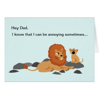 Carte drôle de fête des pères de lion