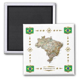 Carte du Brésil + Aimant de drapeaux