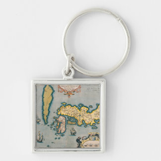 Carte du Japon 5 Porte-clé Carré Argenté