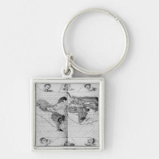 Carte du monde traçant le voyage du monde de Magel Porte-clé