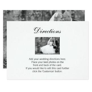 Carte élégante de directions de photo de mariage