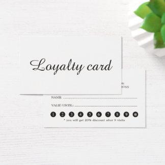 Carte élégante minimaliste de fidélité de salon de