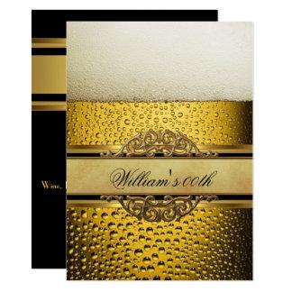 Carte Équipe la fête d'anniversaire noire d'or de bière