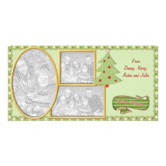 Carte faite sur commande verte de vacances de cartes de vœux avec photo