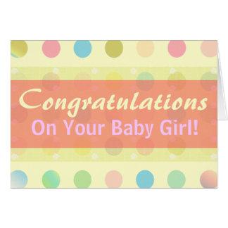 Carte Félicitations de bébé de point de polka !