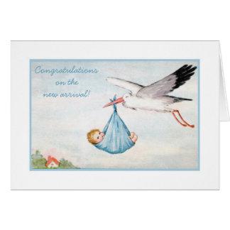 Carte Félicitations vintages de bébé de cigogne
