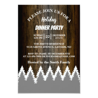 Carte Fête de vacances en bois rustique d'arbre de pins