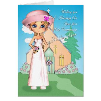 Carte Fille de première sainte communion de filleule