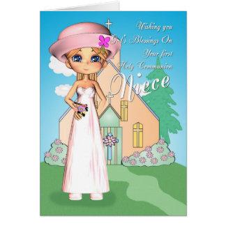 Carte Fille et église de première sainte communion de