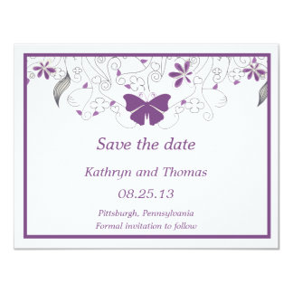 Carte Floral and butterfly Save The Date Card