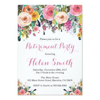 Carte florale d'invitation de partie de retraite
