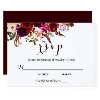 Carte florale du mariage de automne RSVP