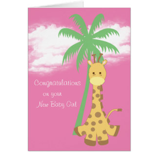Carte Girafe rose de nouvelles félicitations de bébé