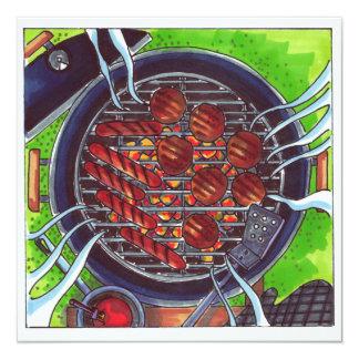 Carte Gril de barbecue avec des hamburgers et des hot