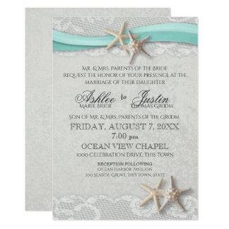 Carte Gris de dentelle d'étoiles de mer et mariage