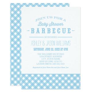 Carte Guingan bleu de l'invitation   de BBQ de baby