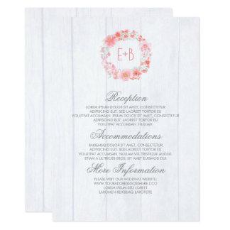 Carte Invité floral de l'information de mariage
