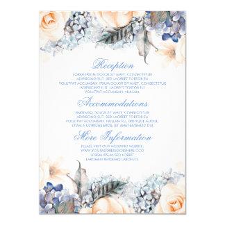 Carte Invité floral de l'information de mariage de bleu