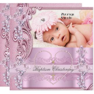 Carte Jolie croix de papillon de photo de fille de rose