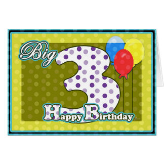 Carte Joyeux 3ème anniversaire d'enfant, grand