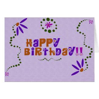 Carte Joyeux anniversaire floral