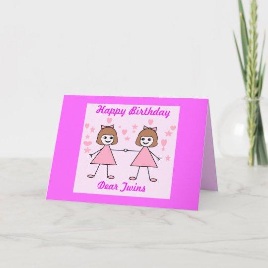 Carte Jumelles De Fille Joyeux Anniversaire