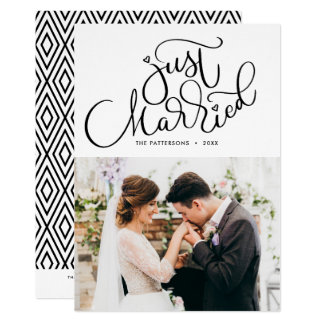 Carte Juste mariage marié de photo marqué avec des