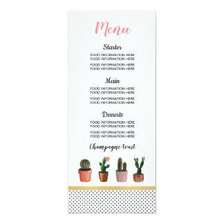 Carte La nourriture de mariage de cactus de menu carde