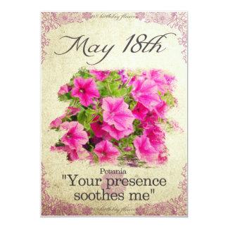 """Carte L'anniversaire fleurit le 18 mai le """"pétunia """""""